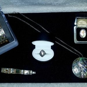 Large vintage Bell silver & abalone jewelry lot